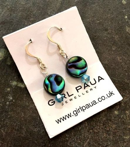 PE01-C-S Paua & Swarovski Short Earrings (AQ)
